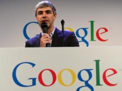 Google CEO Larry Page speaks at Google headquarters in New York on May 21.