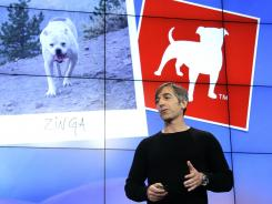 Zynga CEO Mark Pincus talks about the Zynga logo during an announcement at Zynga headquarters in San Francisco, Tuesday.