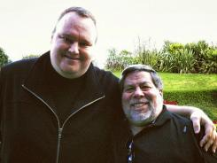 Apple co-founder Steve Wozniak, right, and Kim Dotcom, founder of file-sharing site Megaupload, together in Auckland, New Zealand.