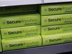 Webroot's SecureAnywhere Complete 2012 software for computer security on display at Best Buy in Mountain View, Calif. Despite repeated alerts, tens of thousands of Americans may lose their Internet service Monday.