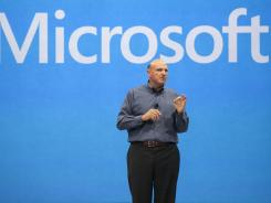 "Microsoft CEO Steve Ballmer unveils its ""Surface"", a new tablet computer to compete with Apple's iPad at Hollywood's Milk Studios in Los Angeles."