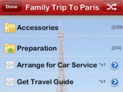 The Pack and Go Deluxe app has suggested packing lists for the whole family for different types of trips.