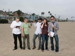 Bill Strauss (ShoeDazzle), Brett O'Brien (Viddy), Gregg Spiridellis (JibJab) Jen Sargent (Hitfix), and James Citron (Mogreet) pictured on a beach in Playa Del Ray, Calif.