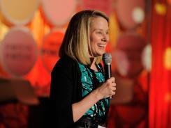 Marissa Mayer speaks onstage at the FORTUNE Most Powerful Women Dinner New York City at Hudson Room at the Time Warner Center on May 24, 2011 in New York City.