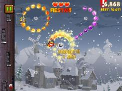 A knight swings across a gem-filled sky in 'Knights of the Round Cable' on iPad.