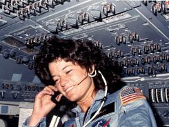 Sally Ride, pictured in June 1983 during her inaugural spaceflight, went up into space twice.