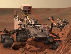 This artist's rendering shows the Mars Rover Curiosity.