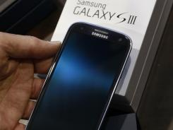 A Samsung Galaxy S III phone.