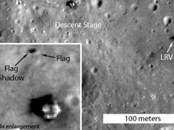 This image taken from the camera of the Lunar Reconnaissance Orbiter shows one of the flags planted during Apollo missions to the moon.