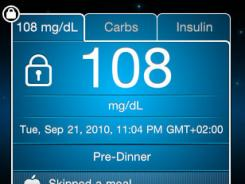 A screenshot of the iBGStar Diabetes Manager iPhone app.