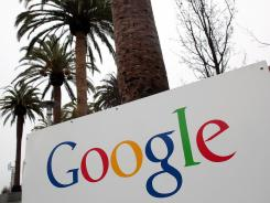 A sign is posted outside of the Google headquarters in Mountain View, Calif.