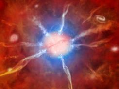 This artist illustration provided by NASA shows a cosmic supermom. Astronomers used NASA's X-Ray telescope to spot this distant galaxy, which is creating about 740 new stars a year.