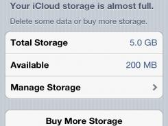 Screenshot of an iPhone showing that iCloud storage is nearing its capacity.