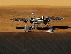 This image provided by NASA shows an artist rendition of the proposed InSight Lander.