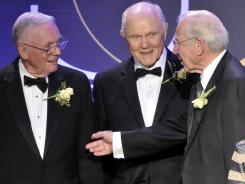 Neil Armstrong, left, the first man to walk on the moon, John Glenn Jr., center, the first American to orbit Earth, and James Lovell, commander of Apollo 13, at a gathering of 19 of the astronauts who call Ohio home in 2008 in Cleveland.