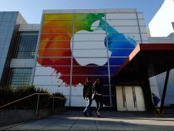 An Apple sign at the front entrance of the San Francisco's Yerba Buena Center for the Arts.