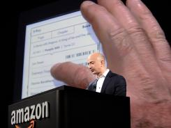 Amazon CEO Jeff Bezos introduces the new Kindle Paperwhite during a press conference in Santa Monica, Calif., on Sept. 6, 2012.
