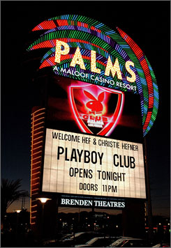 In Las Vegas: The Playboy Club at the Palms resort is on the 52nd floor of the Fantasy Tower and has its own casino.