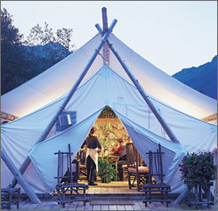 Forget the campfire: At the Clayoquot Wilderness Resort, visitors get haute cuisine and high-end service.