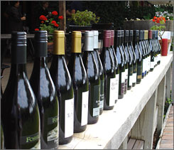 Standing at attention: A lineup of wines from the Nelson area at the Nuedorf Vineyards. The area is famous for its backpacking and its funky shops. Visitors ?like the uncrowdedness,? winemaker John Kavanagh says.