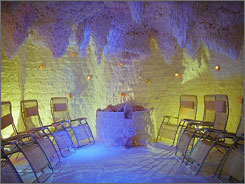 "Sweet escape: The salt particles in the air of the Danubius Health Spa Resort's ""salt room""; can clear your sinuses and respiratory tract."