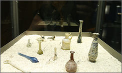 A view of glass containers on display at the Capitoline Museums, part of an exhibit that offers the rare chance to smell the scent of ancient history -  typically a mix of natural spices and olive oil - with fragrances recreated from the world's oldest known perfume factory.