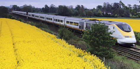 "The scenic route: Europe is investing heavily in high-speed rail, such as this Eurostar train speeding through Kent, England, partly because of interest in ""green"" travel."