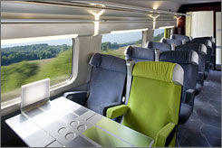 Fast and fashionable: The interiors of the refurbished French TGV high-speed train. This is first-class seating.