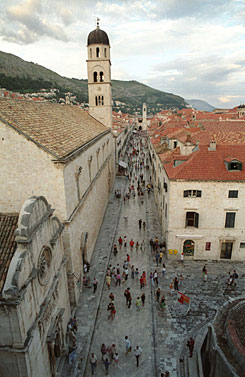 The pedestrian-friendly city of Dubrovnik, Croatia, is seen from the top of the stone wall that rings the historic town.