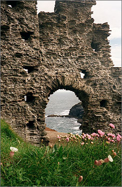 Storybook setting: The ruins of Tintagel Castle, reputed to be the birthplace of King Arthur, sit by the sea.