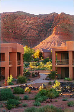 In Ivins, Utah: At Red Mountain Spa, all guest rooms and villa suites offer vistas of the majestic red rock mountains and lava beds.