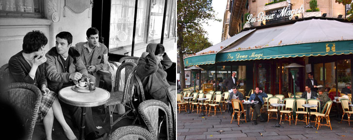 Now and then: At the pricey Les Deux Magots cafe, a prime spot for jet-set people-watching, budgeters can linger over an espresso for $5.50, vs. less than 50 cents in the late '50s.