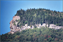 The Indian Head's rocky profile surveys the valley below Mount Pemigewassett in Lincoln, N.H.