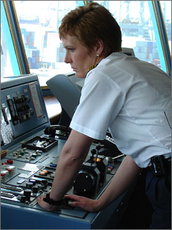 In charge: Janson's the first woman to guide a major cruise ship.