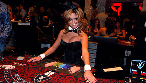 Adult entertainment: Bunny Ann Bertram lays it all out on the table at the Palms Casino Resort's Playboy Club.