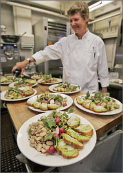 In San Francisco: Greens chef Annie Somerville works on an appetizer made with local, sustainably grown ingredients.