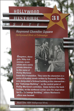 Unsolved mysteries: The Esotouric tours stop by Raymond Chandler Square on Hollywood Boulevard, the central point in a series of mystery novels.