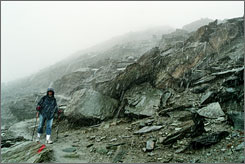 Uphill battle: A surprise July snowstorm on the slopes of the Matterhorn is making life difficult for AP hiker Sheila Norman-Culp.