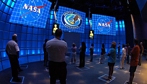 Prepare for takeoff: Videos brief visitors before they climb aboard the new NASA Shuttle Launch Experience ride at Florida?s Kennedy Space Center Visitor Complex.