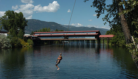 Fun in the sun: Children swing by rope into Sand Creek near the Cedar Street Bridge in Sandpoint, Idaho.