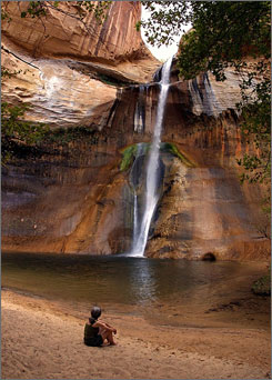 The livin' is easy: Cheryl Loitz relaxes at the base of Calf Creek Falls in The Grand Staircase-Escalante National Monument in southern Utah.