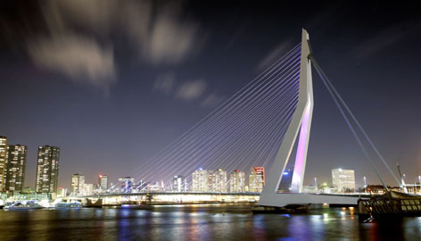 Making the connection: The Erasmus Bridge towers over the River Maas in Rotterdam.