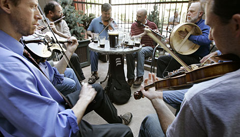 Suds in the sun: An Irish band entertains patrons at the Great Lakes Brewing Company in Cleveland, Ohio.