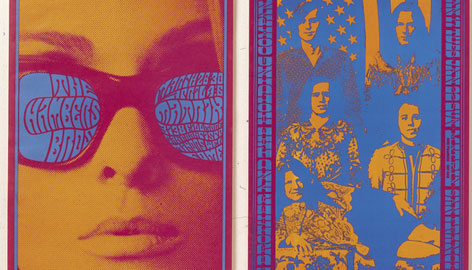 Love the music: A concert poster advertises a 1967 Big Brother and the Holding Company with Janis Joplin show.