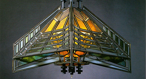 Hanging Lamp, Susan Lawrence Dana House, 1902, glass and brass, 22 x 23 3/4 x 23 3/4