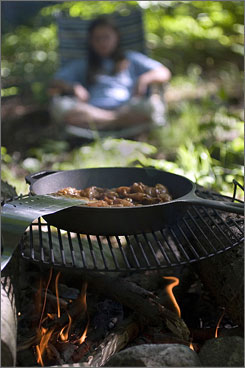 Campfire cooking: Sticky Chicken goes together quickly, is cooked over a medium flame and has a spicy flavor.