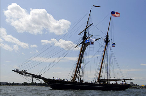 The freedom schooner Amistad, a near-replica of the ship that sparked a slave revolt, departed its U.S.East Coast home port in New Haven and embarked upon a 14,000-mile (22,500- kilometer) voyage to Nova Scotia, Britain and Africa.