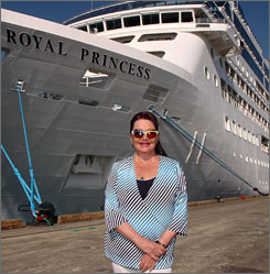 "Always at sea: Lorraine Artz, who has cruised at least 10 months a year for the past two decades, has been named ""Godmother of the Royal Princess."""
