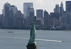 Check out Lady Liberty by boat with NY Waterway Tours.