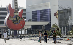 This August 2005 photo reveals the extent of the damage to the Biloxi Hard Rock Casino from Hurricane Katrina.
